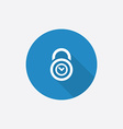 Time lock flat blue simple icon with long shadow vector