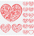 Set of red hearts made of curls vector