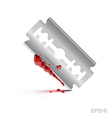 Bloody stainless blade on isolate background vector