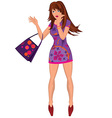 Cartoon young woman in mini purple dress with bag vector