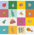 Icons with outline food and products in the flat vector