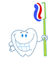 Smiling tooth cartoon character with toothbrush vector