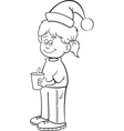Cartoon santa hat girl vector