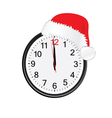 Christmas red hat on clock vector