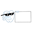 Smiling tooth character presenting a blank sign vector