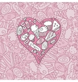Doodle cookie heart and background vector