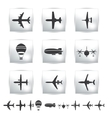 Collection different airplane silhouettes vector