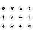 Stickers with hawaii icons vector