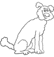 Poodle dog cartoon for coloring book vector