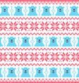 Winter christmas red and bear seamless pixelated vector