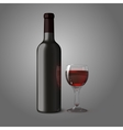 Blank black realistic bottle for red wine with vector