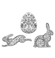 Coloring pages symbols of easter egg hare rabbit vector