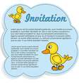 Invitation card blue with yellow ducks vector