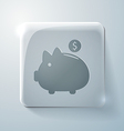 Piggy bank glass square icon vector