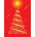 Abstract red christmas tree postcard vector