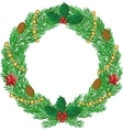 Christmas wreath with cones vector