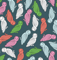 Colorful owls endless seamless pattern vector
