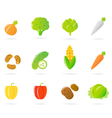 Vegetable food icons vector