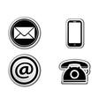 Contact icon buttons set vector
