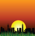 City and the sunset silhouette vector