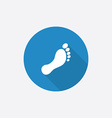Footprint flat blue simple icon with long shadow vector