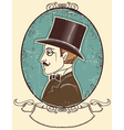 Elegant gentleman in a top black hat vector