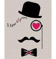 Hipster in bowler hat with heart vector