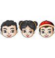 Three heads of asian people vector