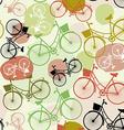 Vintage bicycles seamless pattern pastel green vector