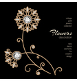 Gold jewelry flowers vector