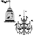 Birdcage and chandelier vector