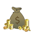 Money bag with coins vector