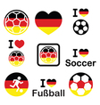 I love german football soccer icons set vector