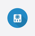 Fitness scales flat blue simple icon with long vector