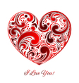 Big red heart made of curls vector
