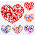 Set of hearts made of curls vector
