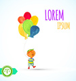 Boy with balloons watercolor paint vector