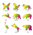 Colorful abstract animal icons vector