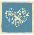Heart from winter icons vintage vector