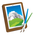 Picture on wooden board with brush - creative conc vector
