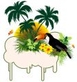 Tropical bird and palms vector