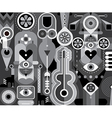 Grayscale abstract composition vector