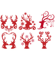 Christmas deer stag heads vector