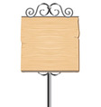 Wooden sign for advertising with metal elements - vector
