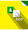 Eco paper cut trees symbols on yellow background vector