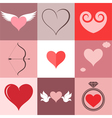 Heart icon set valentines day vector
