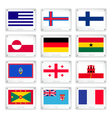 The collection flags on metal texture plates vector