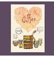 Decorative sketch of cup of coffee vector