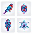 Winter mosaic icons vector