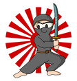 Ninja rising sun background vector